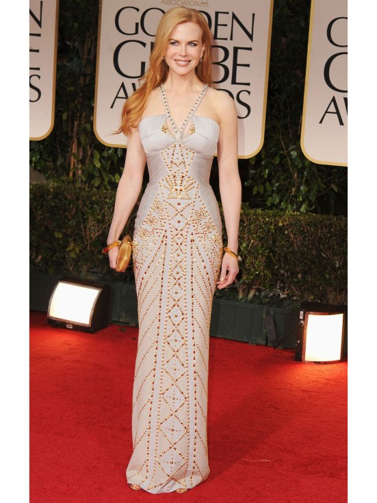 Nicole Kidman at the Golden Globes looking not as scary skinny as I've seen her. In fact, I like that dress.