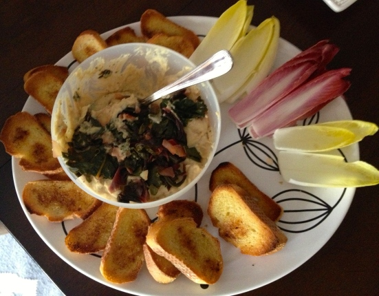 White Bean Dip with Swiss Chard. Mmmmm...