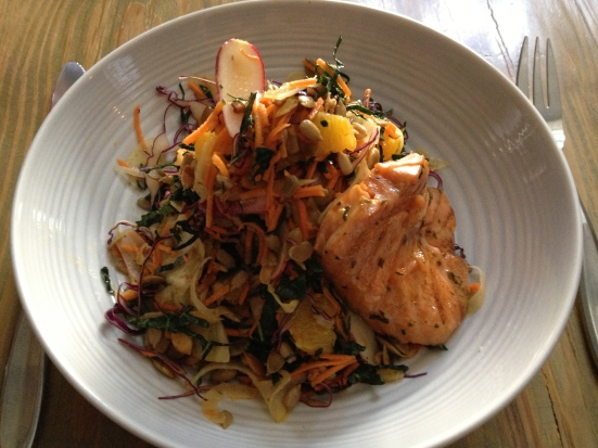Skinny Cow Chopped Salad - tuscan kale, cabbage, carrot, radish, pumpkin seeds, sunflower seeds, orange slices. Added some salmon. Yum!
