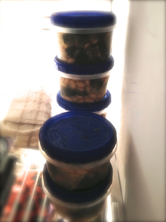Stocked freezer. And yes, that is an eye pillow next to my soup stash.