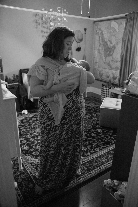 Obligatory B&W pic of mom looking wistfully at babe. Photo Credit: Beth Liebetrau